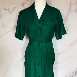 Green wiggle dress 100% silk Talbots size 6